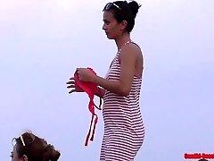 Beach Bikini Gals Close Up Cooch shots and cameltoes