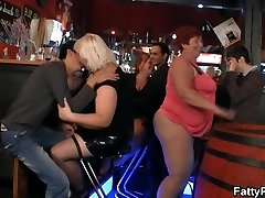 Funny thick tits party in the bar