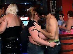 Funny gigantic tits party in the bar