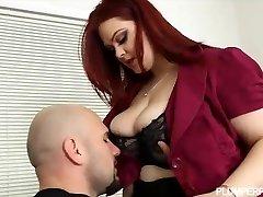 Sexy Plump Busty Redhead Pummels Her Hubby Boss