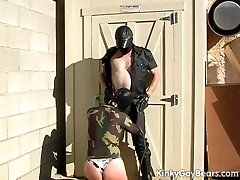 Masked boy spanked and mouth fucked
