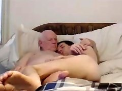 grandpa and younger on web cam
