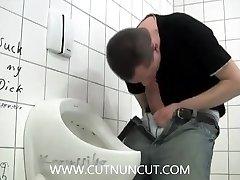 Jerk Off and SelfSuck in Public Restroom