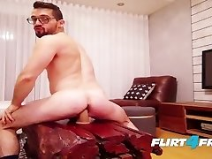 Hairy Guy Sits on His Big Fuck Stick and Fires Off a Huge Load