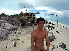 HARD NAKED GUY Ambling AROUND A BEACH
