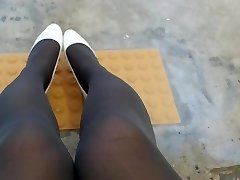 White Patent Pumps with Grey Pantyhose Teaser Two