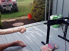 Wifey pounds hubby's wazoo with machine