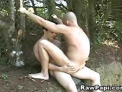 Latino Fag Condom-free Fucked in the Forest