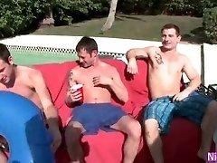 Fag Gangbang By The Pool