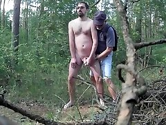 Caught stroking in the woods