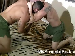 Gay-for-pay Marine Buddies Wrestling Naked
