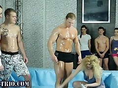 Oiled up ambidextrous wrestling guy sucks