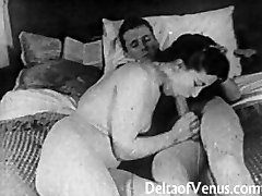 Authentic Vintage Porno 1950s - Clean-shaved Pussy, Voyeur Fuck