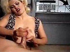 Carol manhandles a big meatpipe until it spits