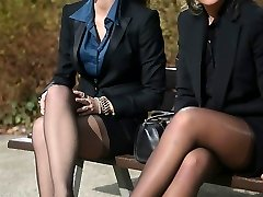 2 youthful sexy secretaries in vintage stocking & garterbelt