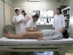 Crazy Asian nurses take turns riding patient