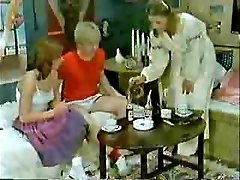 Brother's friend and girlfriend playing to the doctor when mom  comes-Retro