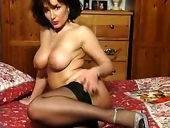 Hot Brunette Huge-titted Milf Teasing in various outfits V SEXY!