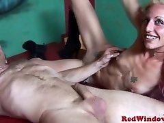 Skanky redlight escort swallows some cum