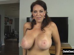 Busty Charlee Chase Sucks Wood in Puffy Winter Adorn
