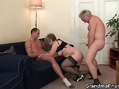 Aged threesome orgy after pussy masturbating