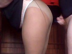 cum on tights my mom