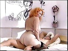 Massive ass redhead mature pummels a young cock