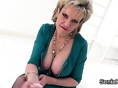 Unfaithful english mature gill ellis displays off her monster b