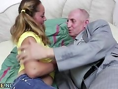 Teen pussy filled with old man sausage