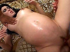 Dark-hued haired future mom fucked while prego