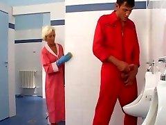 Mature sex in rest room