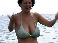 Scorching Milf in Swimsuit at The Beach