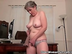 Old secretary Kelli strips off and frigs her wooly pussy
