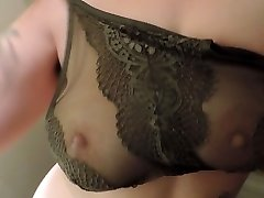 HD Milkymama strips and teases knockers through lacey bra