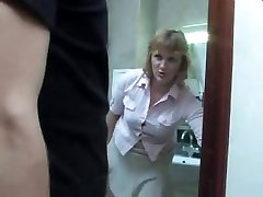 Mature mommy takes a urinate on the restroom and gets interrupted by her son for a fuck