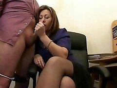 Scorching Mature Secretary Jerks The Jizz From Bosses Cock !