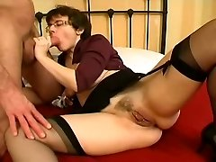 Pierced Milf in Stockings Wide Open Anal Fuck and Facial Cumshot