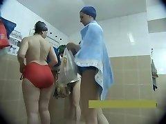 Middle-elder mothers naked in the bathroom