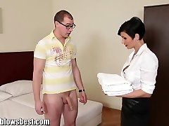 MommyBB Huge-boobed euro Milf Maid sucks the hotel client