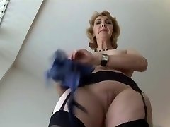 Mature English blonde honey in tights upskirt tease