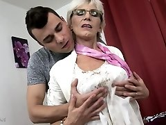 Horny granny with saggy tits screwed by a young dude