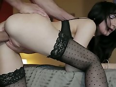 Raven haired greedy mommy in stockings Diana Prince gets doggy screwed hard