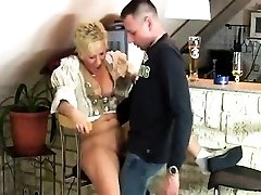 Smoking Mature Lady gives Bj with jizz flow