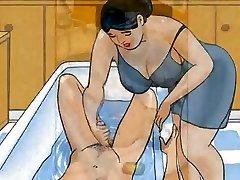 Mature mummy handjob dick her boy - cartoon