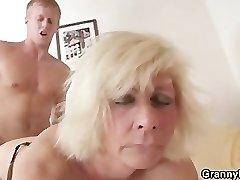 German granny fucks hard