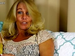 Hot American housewife playing with her shaved vagina