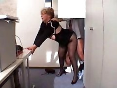 Office Granny Romped  in stockings
