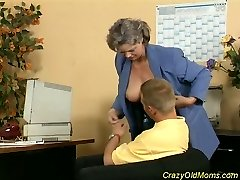 Crazy old mom gets cock fucked and office dt sex