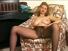 Sexy Ash-blonde Burns A Slot In Stockings