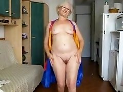 65 Yr. Old Granny Hamming It Up On Web Cam